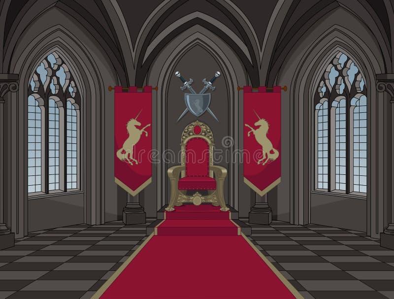 Średniowieczny Grodowy Tronowy pokój ilustracja wektor