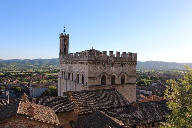 Średniowieczny Grodzki Gubbio w Umbria Palazzo dei Consoli obrazy royalty free