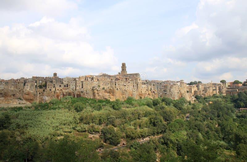 Średniowieczny grodzki Pitigliano w włoszczyźnie Tuscany zdjęcia stock