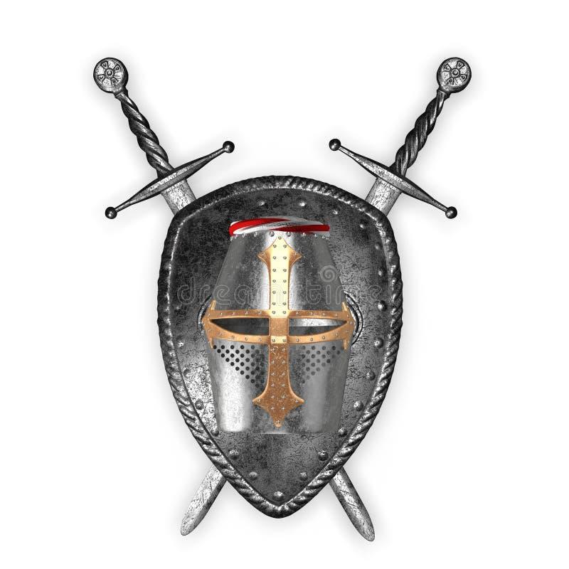 Średniowieczny heraldyczny znak royalty ilustracja