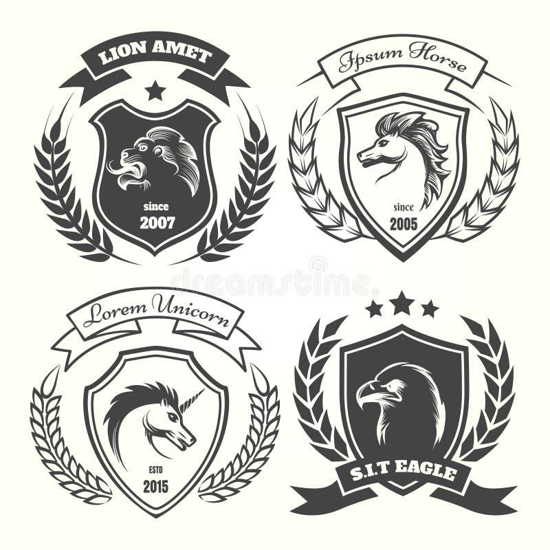 Średniowieczny heraldyka żakiet ręka set royalty ilustracja