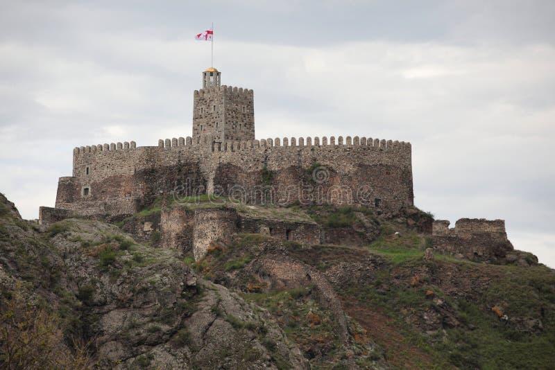Średniowieczny kamienny forteca na odgórnym mountaine obraz stock
