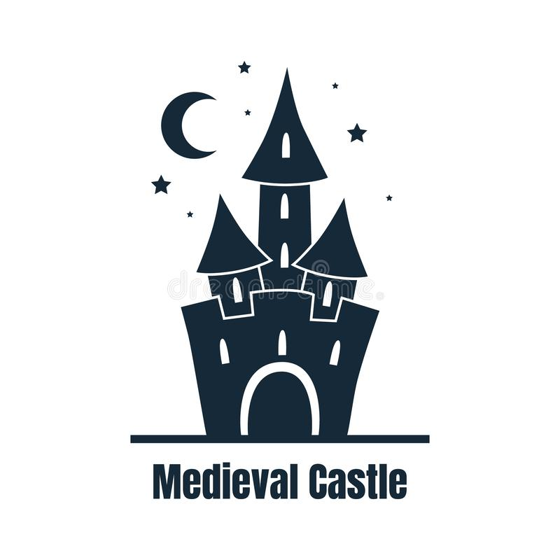 Średniowieczny kasztel, Śliczny forteca przy noc wektoru ilustracją ilustracji