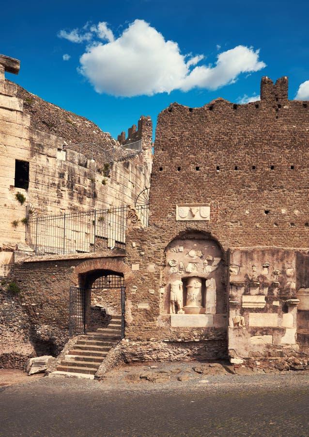 Średniowieczny kasztel Przez Appia w Rzym Caetani zdjęcia royalty free