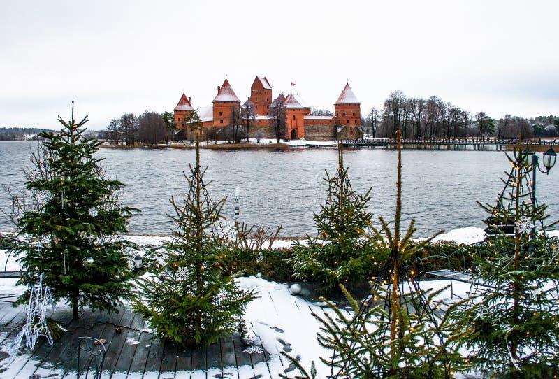 Średniowieczny kasztel Trakai, Vilnius, Lithuania, Europa Wschodnia, w zimie obraz stock