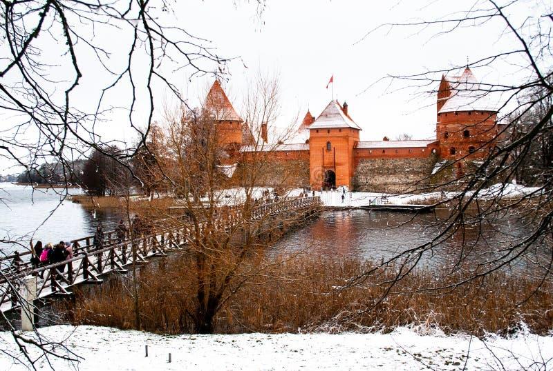 Średniowieczny kasztel Trakai, Vilnius, Lithuania, Europa Wschodnia, w zimie zdjęcia stock
