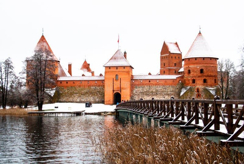 Średniowieczny kasztel Trakai, Vilnius, Lithuania, Europa Wschodnia, w zimie zdjęcia royalty free