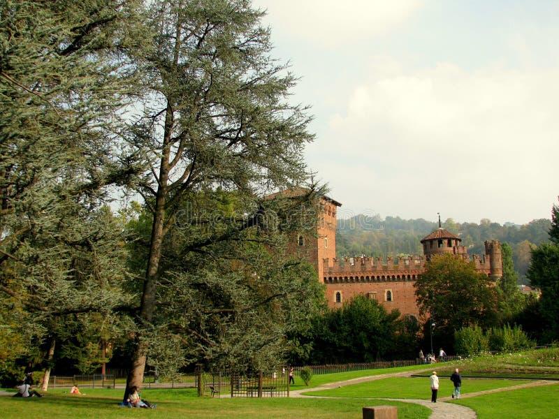 Średniowieczny kasztel w Parco Del Valentino Turyn obraz royalty free