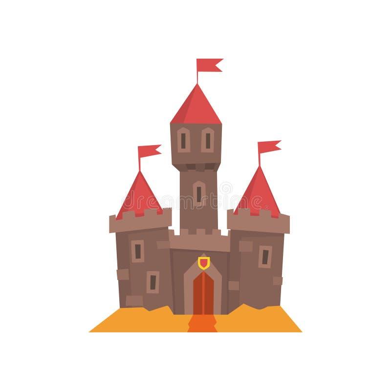 Średniowieczny kasztel z flankować góruje, drewniana brama i flaga na conical ilustracji