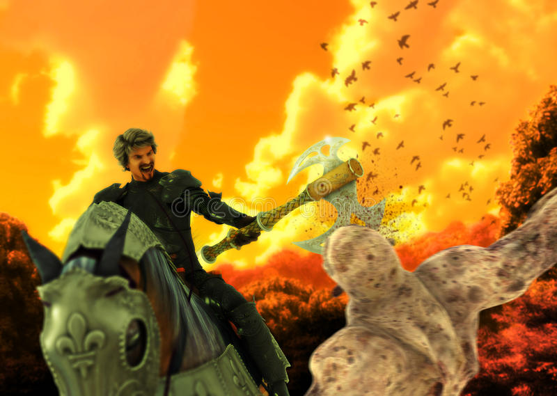Średniowieczny kawaleria wojownik Horseback Zabija potwora ilustracji