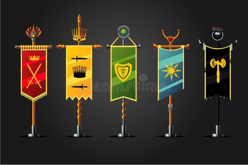 Średniowieczny kreskówki flaga set Insygnia gemowego projekta ikony kolekcja Fantazi pojęcie, royalty ilustracja