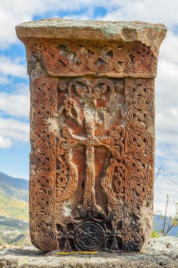 Średniowieczny krzyża kamień w Armenia fotografia royalty free