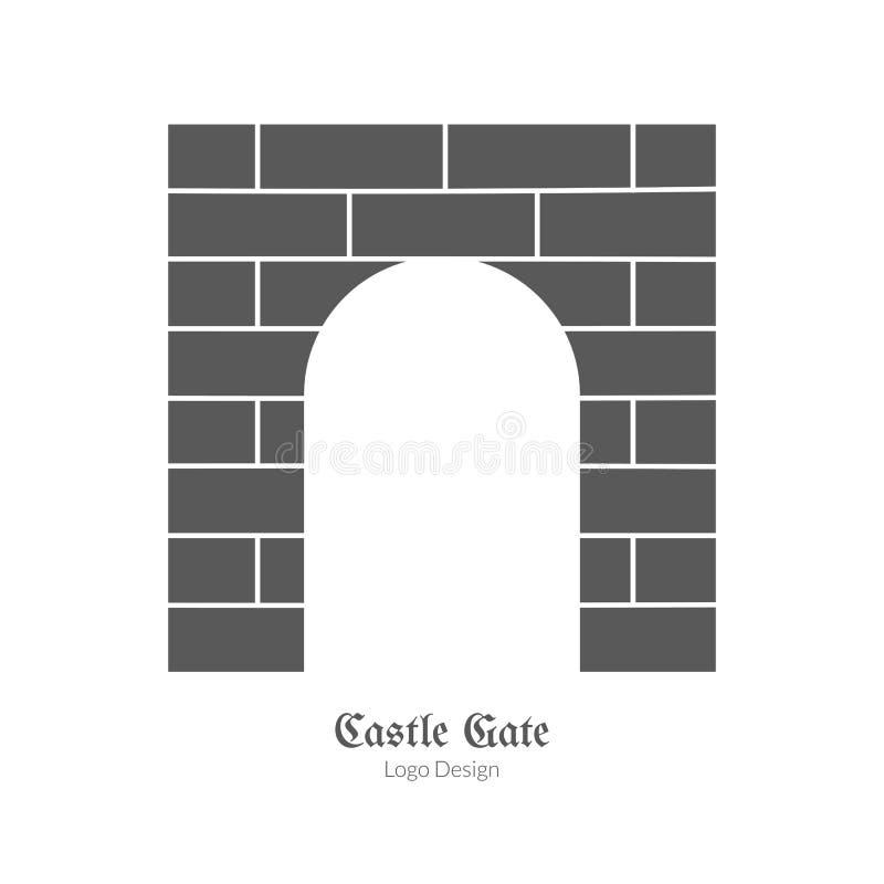 Średniowieczny loga emblemata szablon, czarny prosty styl ilustracja wektor