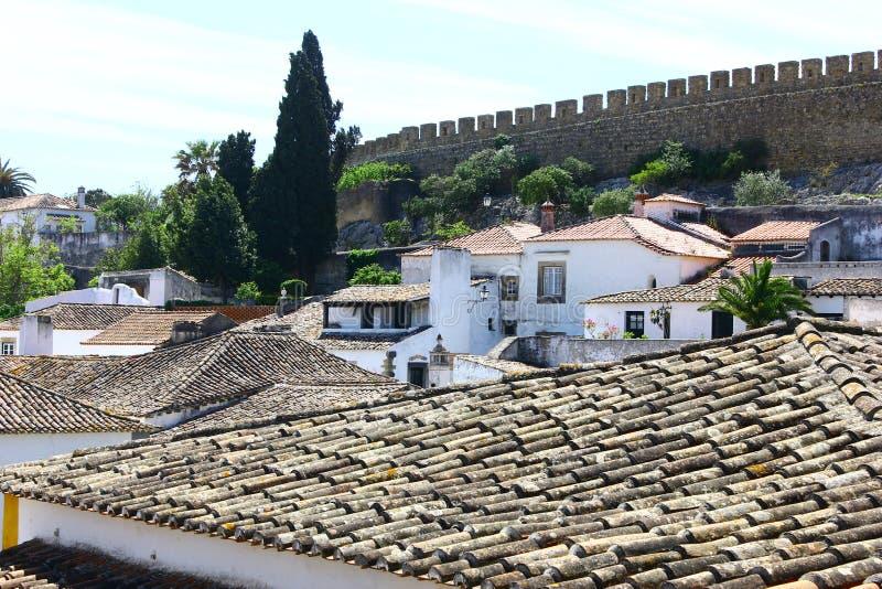 Średniowieczny miasteczko Obidos przy Portugalia obraz stock