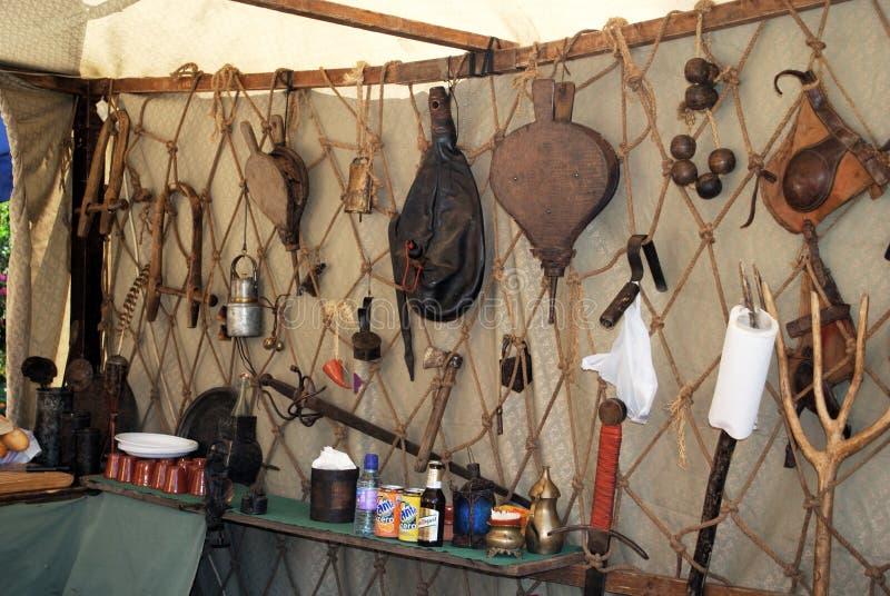 Średniowieczny narzędzie kram, Barbate fotografia stock
