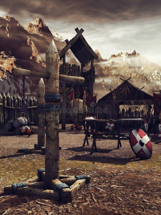 Średniowieczny obóz szkoleniowy ilustracja wektor
