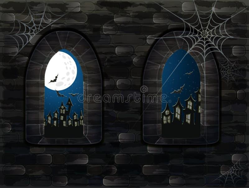 Średniowieczny okno w kasztelu szczęśliwy karciany Halloween ilustracja wektor