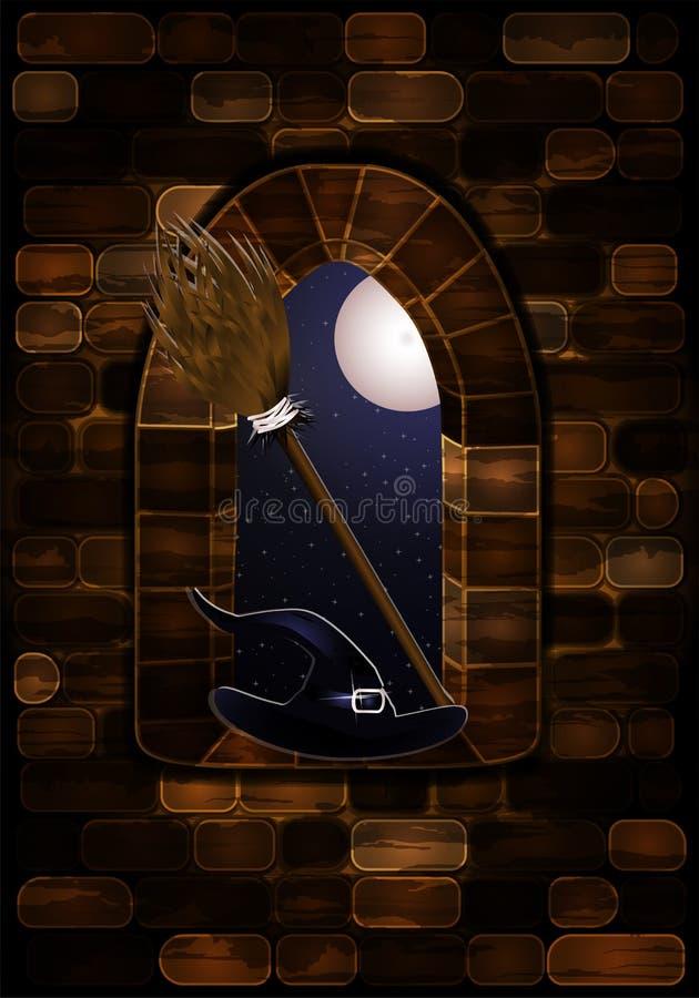 Średniowieczny okno w kasztelu z czarownicy ` s kapeluszem i miotłą, Szczęśliwy Halloween tło, wektor ilustracja wektor