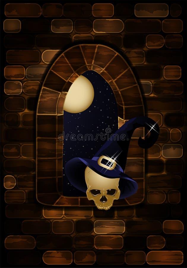 Średniowieczny okno w kasztelu z czarownicy ` s kapeluszem tło Halloween szczęśliwy royalty ilustracja
