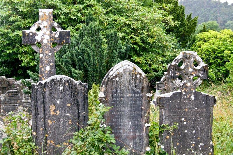 Średniowieczny okręgu administracyjnego cmentarz, Glendalough, okręg administracyjny Wicklow, Irlandia zdjęcie stock