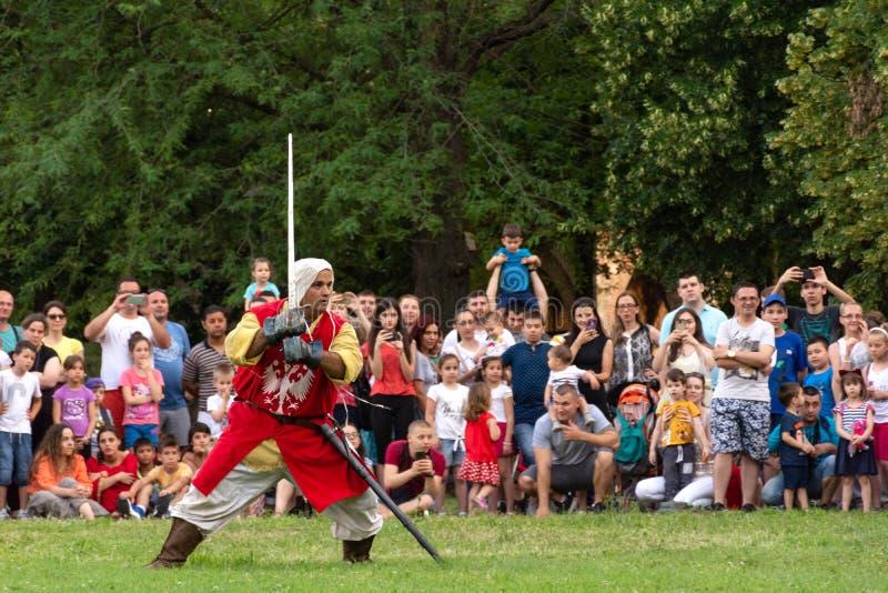 Średniowieczny rycerz w czerwonym kostiumu z kordzikiem pokazuje knightly umiejętności dalej przy międzynarodowym festiwalem ryce obraz royalty free