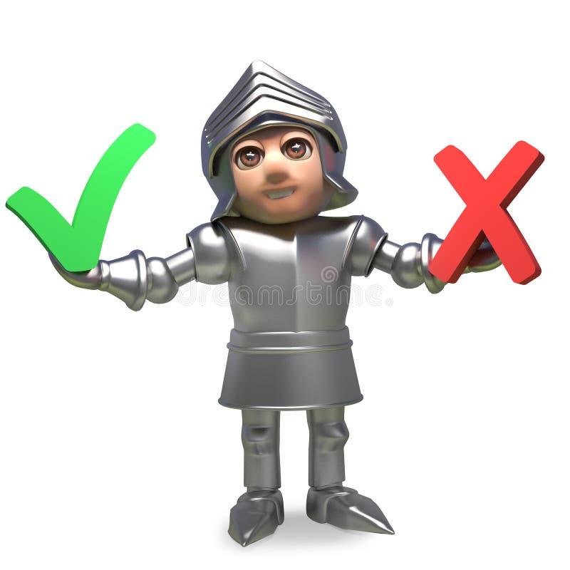 Średniowieczny rycerz w zbroi decyduje w głosowaniu między tak i nie, 3d ilustracja ilustracji