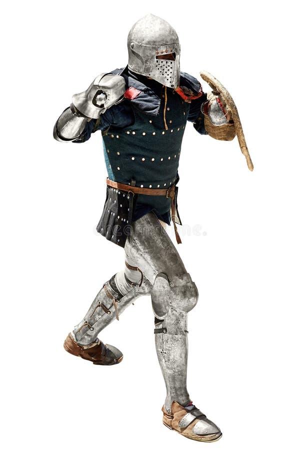 Średniowieczny rycerz z kordzikiem i osłoną obrazy royalty free