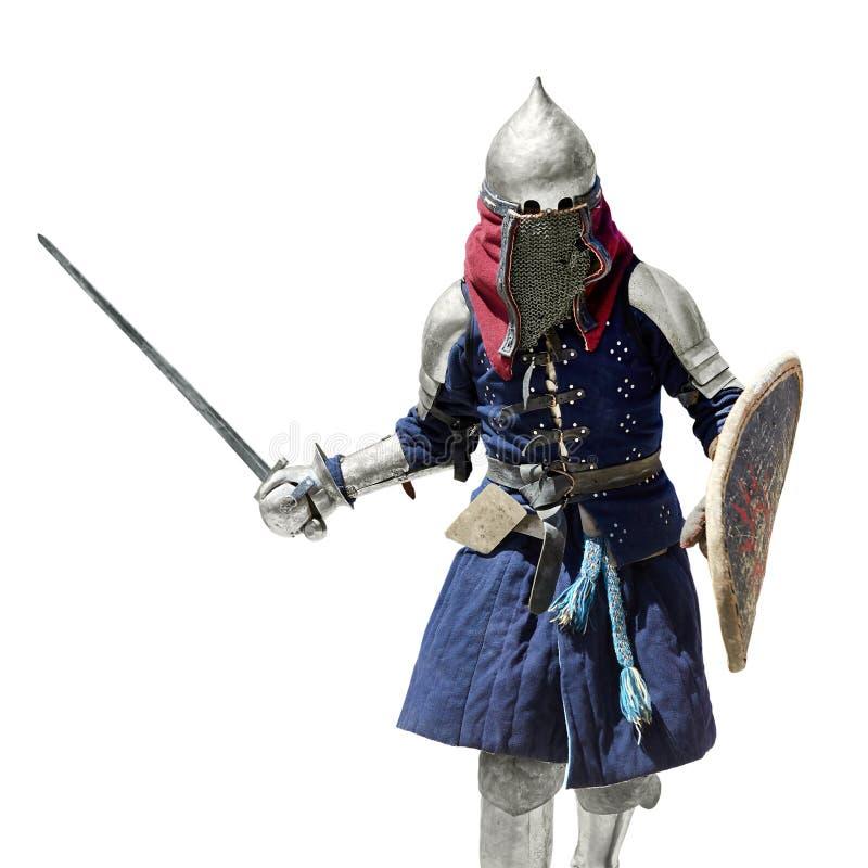 Średniowieczny rycerz z osłoną i kordzikiem zdjęcia royalty free