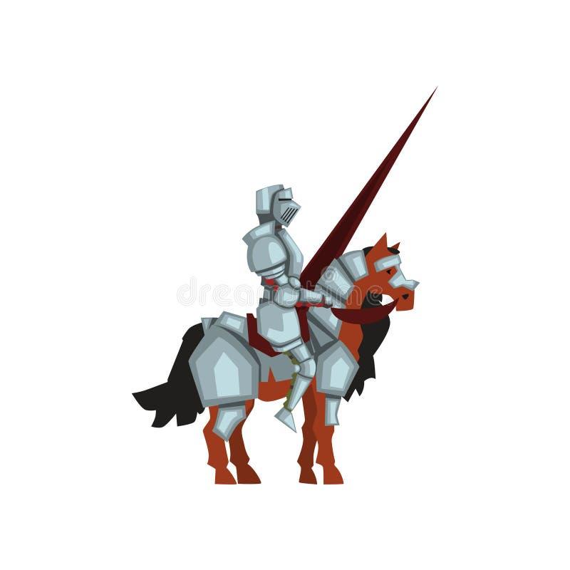 Średniowieczny rycerza obsiadanie na konia i mienia lancy w ręce Królewski wojownik w błyszczącym opancerzeniu Płaski wektorowy p ilustracja wektor