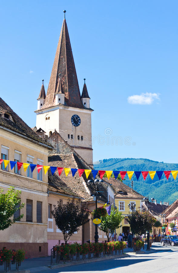 Średniowieczny saxon wierza Cisnadie fortyfikował kościół fotografia stock