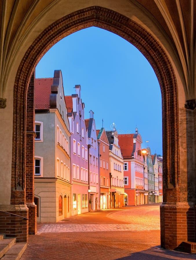Średniowieczny stary grodzki Landshut Monachium, Niemcy obrazy stock