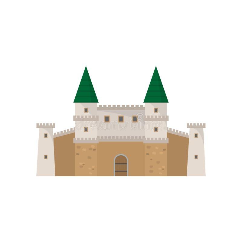 Średniowieczny stary kamienny architektura kasztel z zieleń dachem ilustracja wektor