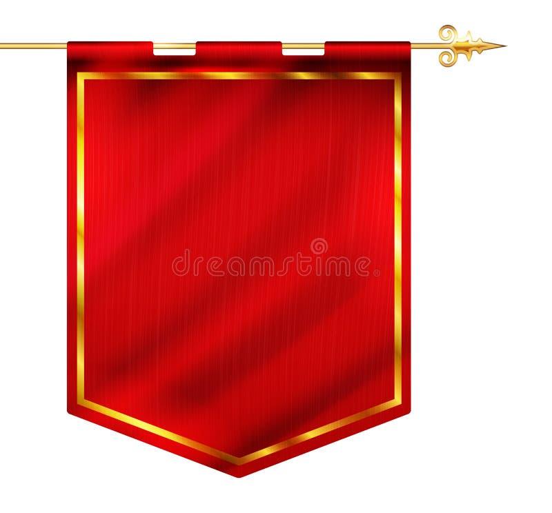 Średniowieczny stylowy czerwonej flaga obwieszenie na złocistym słupie ilustracja wektor