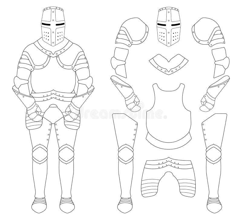 Średniowieczny templar rycerza opancerzenia set ilustracji