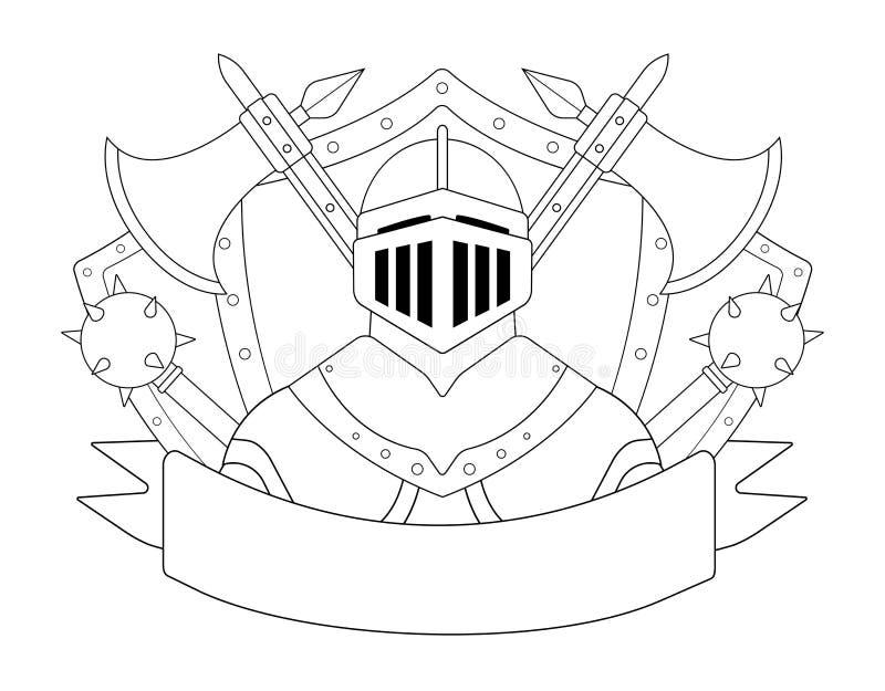 Średniowieczny templar rycerza opancerzenia set kontur royalty ilustracja