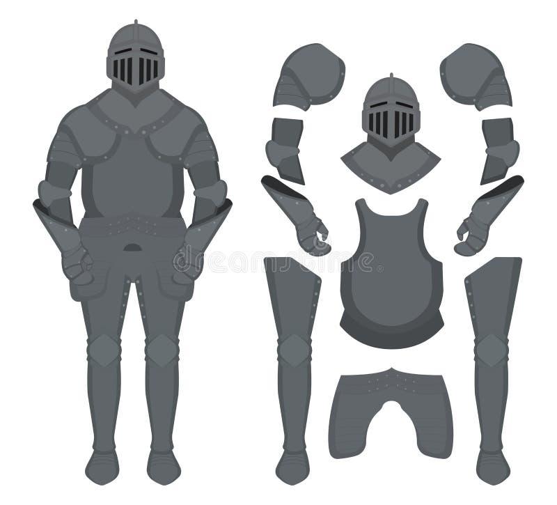 Średniowieczny templar rycerza opancerzenia set kontur ilustracja wektor