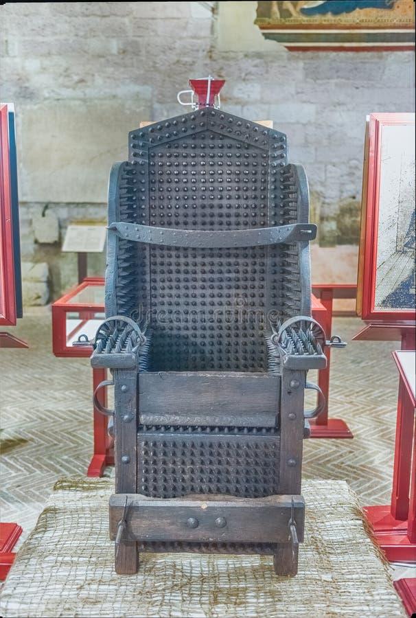 Średniowieczny tortura instrument w muzeum w Gubbio, Włochy fotografia royalty free