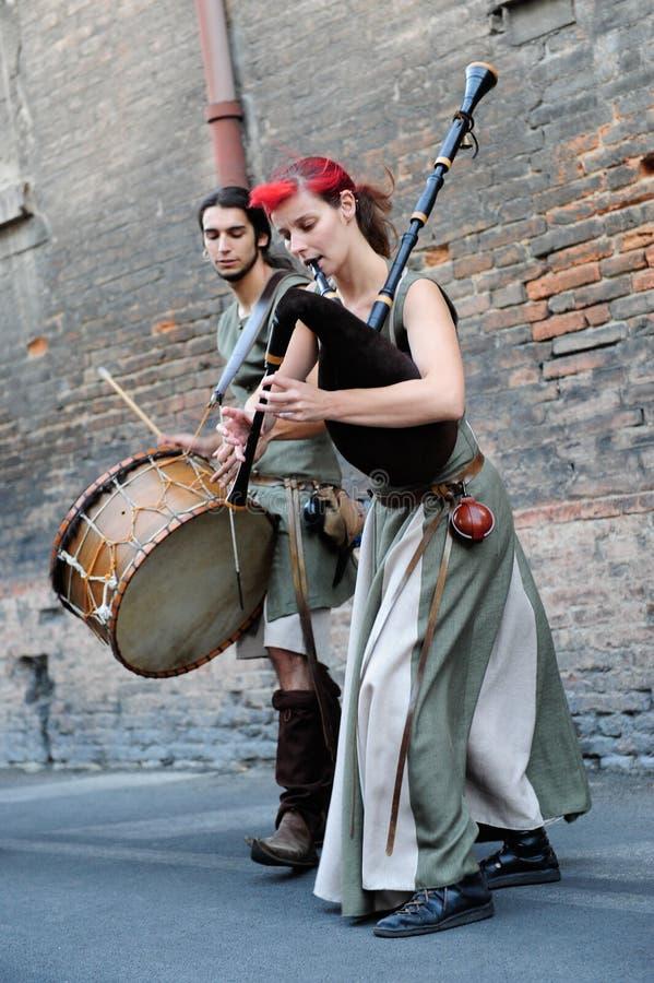 Średniowieczny Uliczny muzyk zdjęcia royalty free