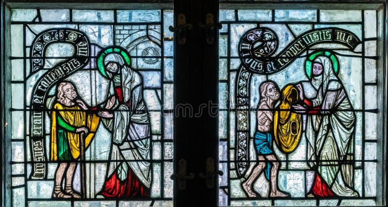 Średniowieczny witraż przedstawia Teutońskiego rozkazu morał, misję i fotografia stock