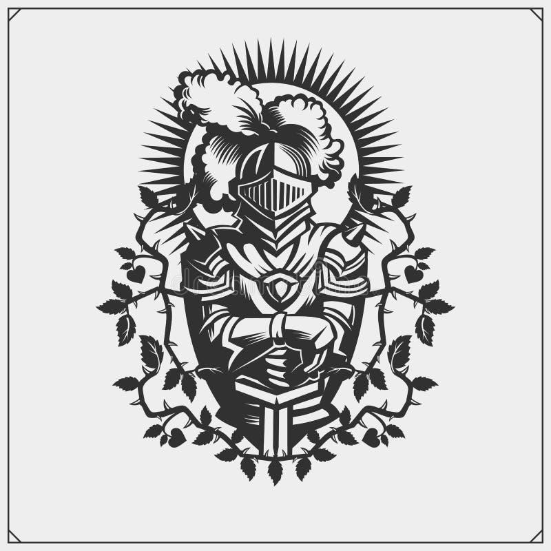 Średniowieczny wojownika rycerz w hełma emblemacie również zwrócić corel ilustracji wektora ilustracja wektor