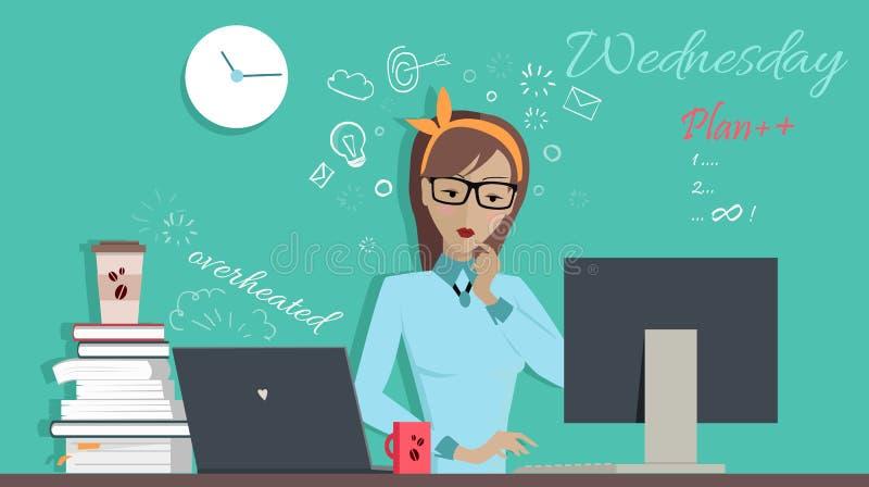 Środa Pracujący dzień Kobieta Planuje jej pracę ilustracji
