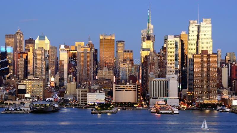 Środek miasta Manhattan Linia horyzontu obrazy royalty free