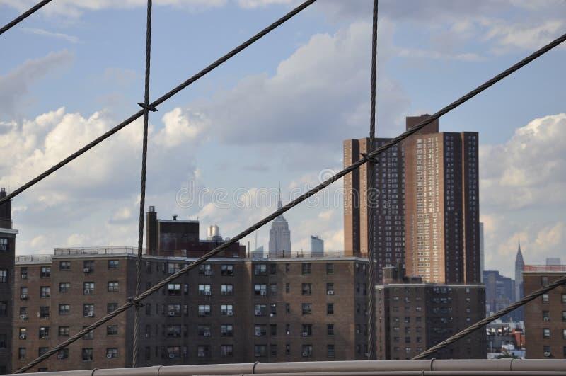 Środek miasta Manhattan od mosta brooklyńskiego nad Wschodnią rzeką od Miasto Nowy Jork w Stany Zjednoczone fotografia royalty free