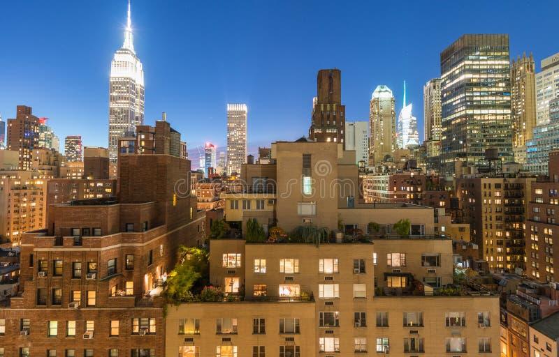 Środek miasta panorama przy zmierzchem od dachu, Miasto Nowy Jork obraz royalty free