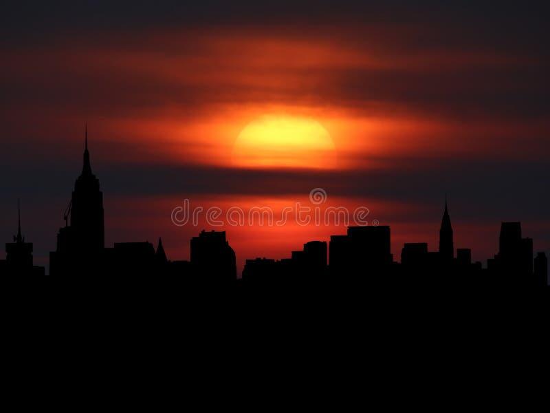 Środka miasta Manhattan linia horyzontu z zmierzch ilustracją ilustracja wektor