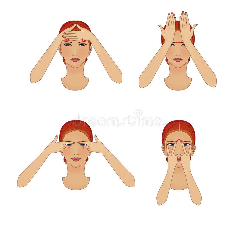 Środki antystarzejące i zmarszczki twarzy. Dziewczyna ćwiczy ruchy oczu i czoła ilustracja wektor