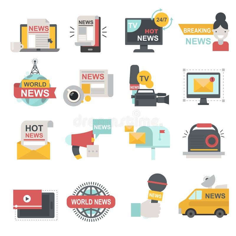 Środki masowego przekazu ikony ustawiać z telekomunikaci radiową beaking transmisją wiadomości TV lub strona internetowa symboli/ royalty ilustracja