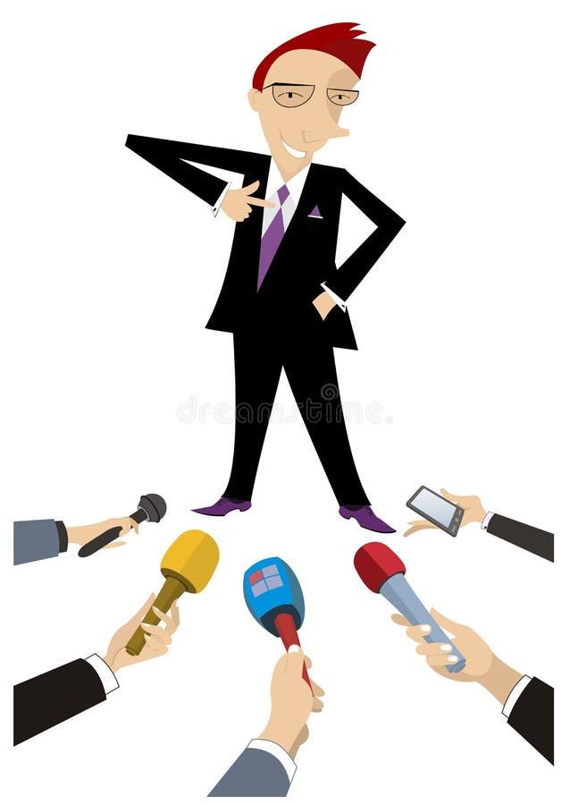 Środki masowego przekazu uzyskują wywiad od rozochoconej mężczyzna ilustraci ilustracji