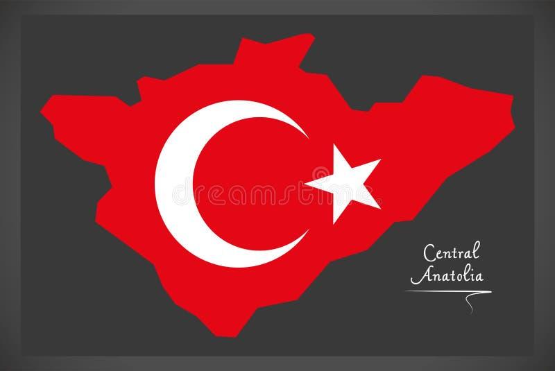 Środkowa Anatolia Indycza mapa z Tureckim flaga państowowa illustrat ilustracja wektor