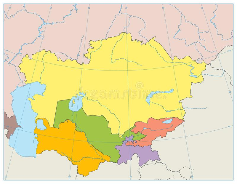 Środkowa Azja Polityczna mapa żadny tekst royalty ilustracja